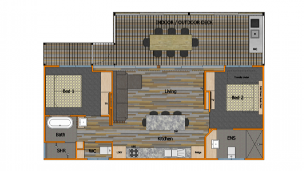 Beach Breeze Floor Plan- partially accessible with portable ramp available